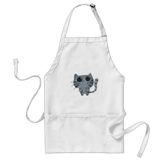 Cute Grey Cat with big black eyes Adult Apron
