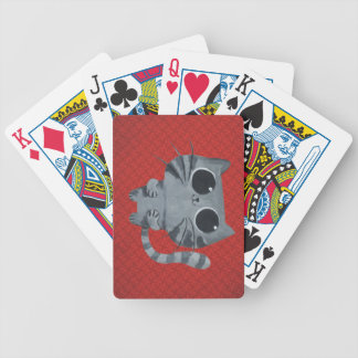 Cute Grey Cat with big black eyes Bicycle Playing Cards