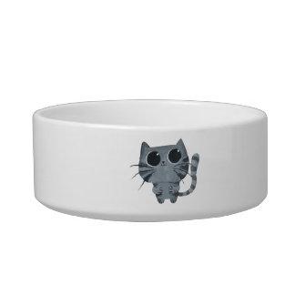 Cute Grey Cat with big black eyes Bowl