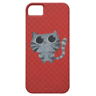 Cute Grey Cat with big black eyes iPhone 5 Cases