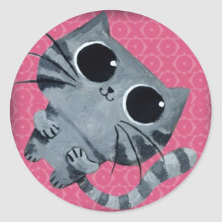 Cute Grey Cat with big black eyes Classic Round Sticker