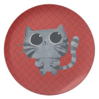 Cute Grey Cat with big black eyes Dinner Plate