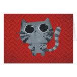 Cute Grey Cat with big black eyes Greeting Card