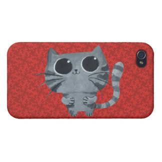 Cute Grey Cat with big black eyes Covers For iPhone 4