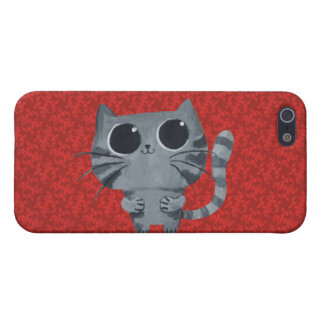 Cute Grey Cat with big black eyes Case For iPhone 5