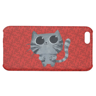 Cute Grey Cat with big black eyes Case For iPhone 5C