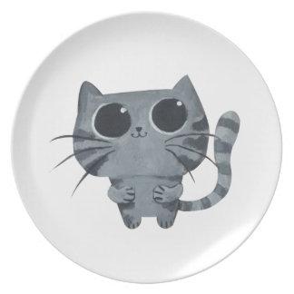 Cute Grey Cat with big black eyes Melamine Plate