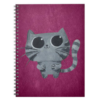 Cute Grey Cat with big black eyes Note Book