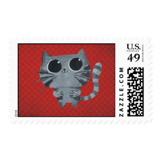 Cute Grey Cat with big black eyes Postage Stamps