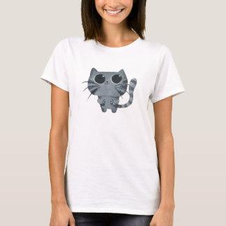 Cute Grey Cat with big black eyes T-Shirt