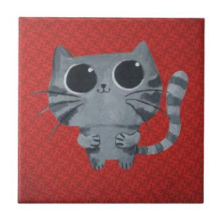 Cute Grey Cat with big black eyes Tile