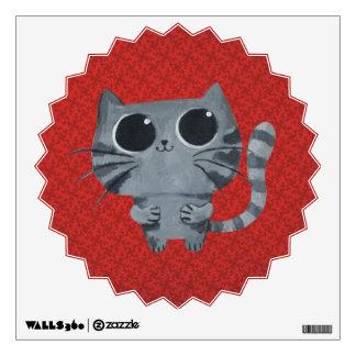 Cute Grey Cat with big black eyes Wall Decal