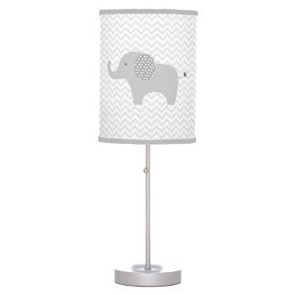 Cute Grey Chevron Elephant Nursery Table Lamp