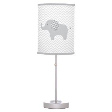 LittlePrintsParties Cute Grey Chevron Elephant Nursery Table Lamp