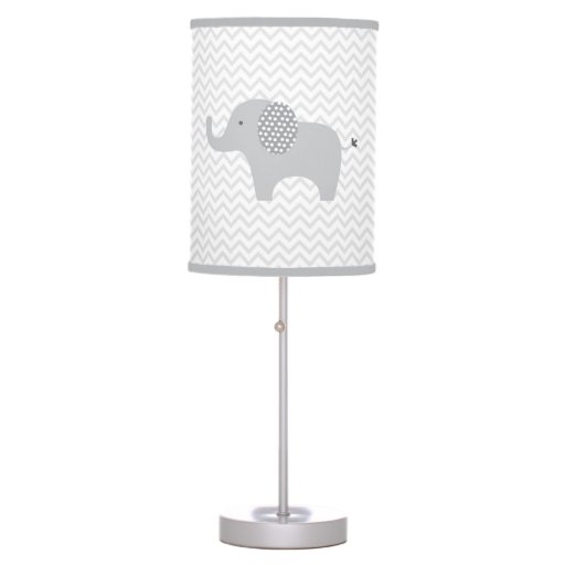 Cute Grey Chevron Elephant Nursery Table Lamp