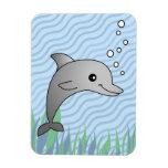 Cute Grey Dolphin Cartoon in Blue Water Vinyl Magnet