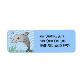 Cute Grey Dolphin in Blue Water Label