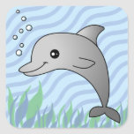Cute Grey Dolphin in Blue Water Stickers