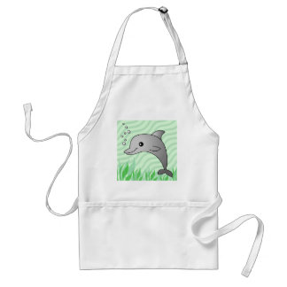 Cute Grey Dolphin in Green Water Adult Apron
