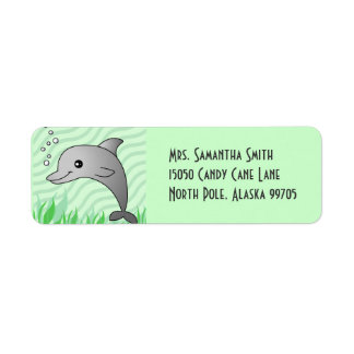 Cute Grey Dolphin in Green Water Label