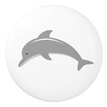 Beach Themed Cute grey dolphin nursery door and drawer knobs