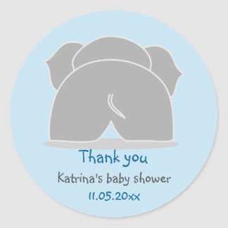 Cute Grey Elephant Blue Baby Shower Thank You Classic Round Sticker