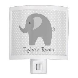 Cute grey elephant night light for nursery room