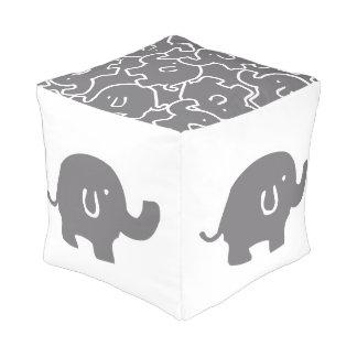 Cute Grey Elephant Pattern Zoo Animals Pouf