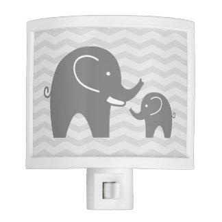 Cute grey elephants night light for nursery room