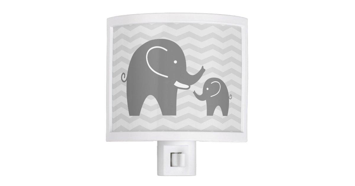 Cute Grey Elephants Night Light For Nursery Room Zazzle