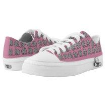 Cute Grey Elephants Pattern On Girly Lipstick Pink Low-Top Sneakers