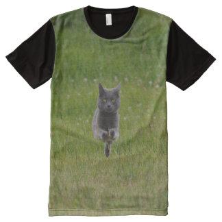 Cute Grey Farm Cat Racing Across Green Grass Photo All-Over Print T-shirt