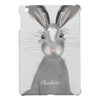 Cute Grey Hare Whimsy Illustration iPad Mini Cover
