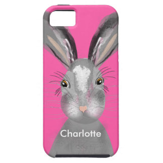 Cute Grey Hare Whimsy Illustration iPhone SE/5/5s Case