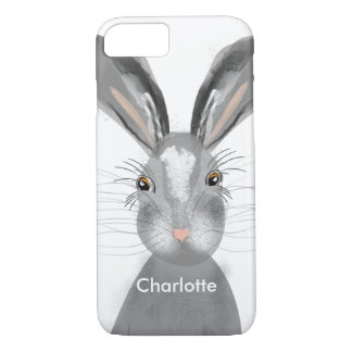 Cute Grey Hare Whimsy Illustration Personalized iPhone 8/7 Case