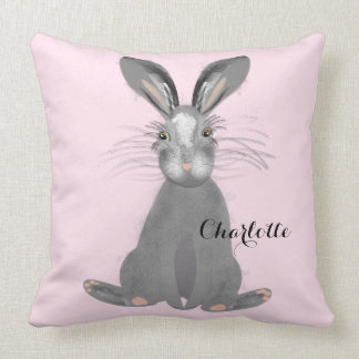 Cute Grey Hare Whimsy Illustration Personalized Throw Pillow
