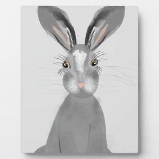 Cute Grey Hare Whimsy Illustration Plaque