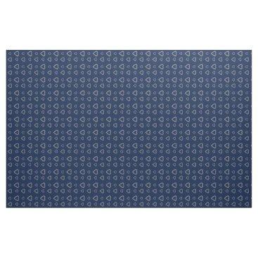 dreamywave Cute Grey Hearts Pattern on Midnight Blue Fabric
