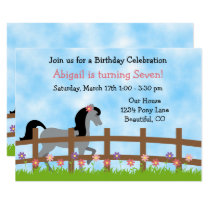 Cute Grey Horse and Flowers Girls Birthday Invite