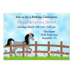 Cute Grey Horse and Flowers Girls Birthday Party 5x7 Paper Invitation Card