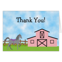 Cute Grey Horse and Pink Barn Thank You Cards