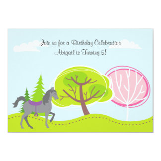 Cute Grey Horse in Forest Birthday Invitation