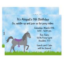 Cute Grey Horse Pony Rides Horse Birthday Party Invitation