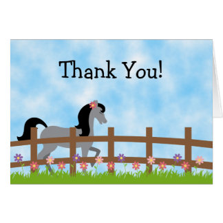 Cute Grey Horse with Flowers Thank You Cards