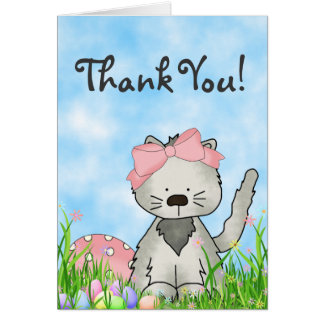 Cute Grey Kitten and Easter Eggs Thank You Card