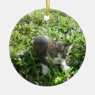 Cute Grey Kitten Ceramic Ornament