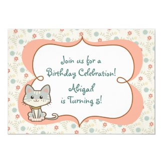 Cute Grey Kitty Cat and Flowers Birthday Invitation