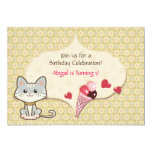 Cute Grey Kitty Cat and Ice Cream Cone Birthday 5x7 Paper Invitation Card