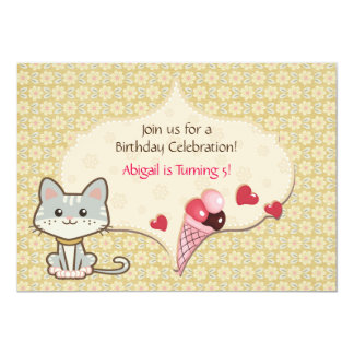 Cute Grey Kitty Cat and Ice Cream Cone Birthday 5x7 Paper Invitation Card