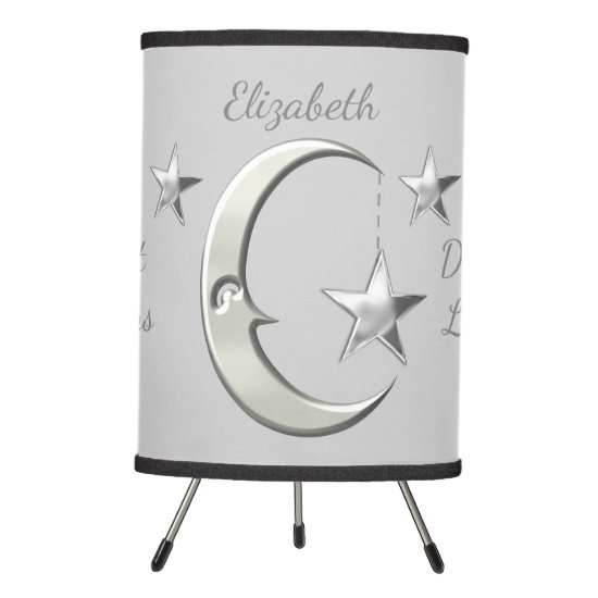 Cute grey moon & stars tripod lamp baby nursery